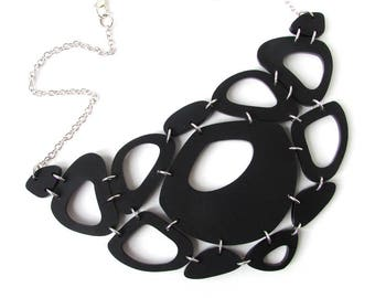 Black Statement Necklace – Unique Necklace – Necklaces for Women – Fashion Necklace – Bold Chunky Necklace – Bib Necklace Laser Cut Acrylic