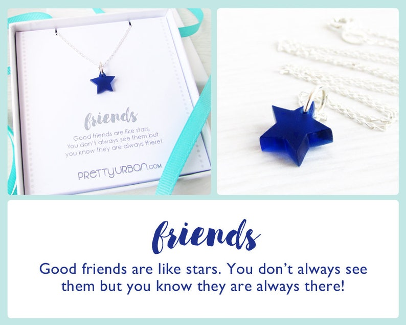 BFF Necklace  Long Distance Friendship Gift  Blue Star image 0