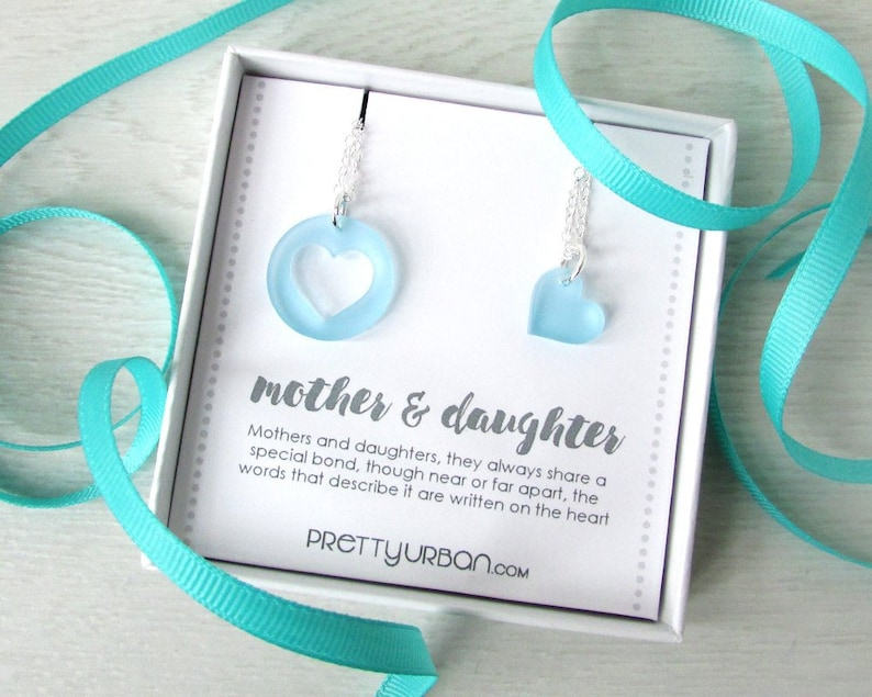 Mother Daughter Necklace Set  Mommy and Me Heart Pendant  image 0