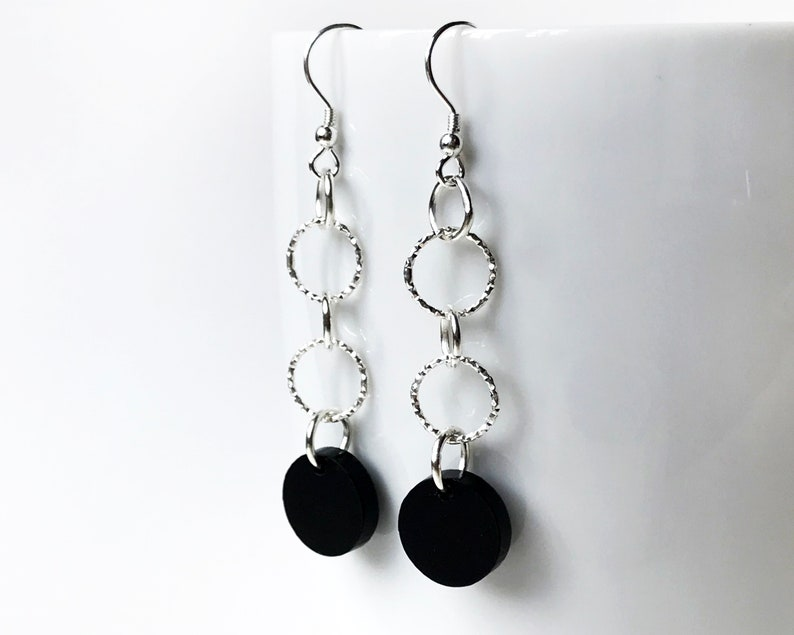 Sterling Silver Dangly Statement Earrings  Black Circle Laser image 0