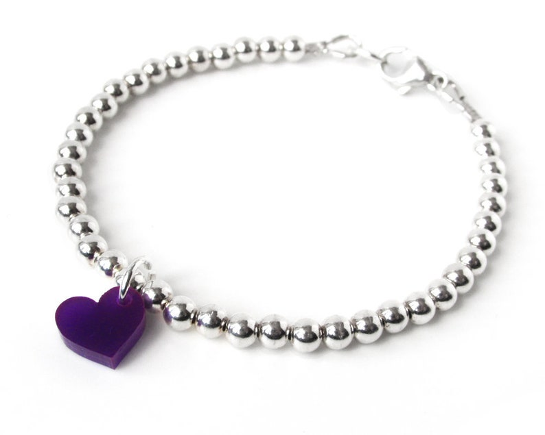 Sterling Silver Ball Bracelet with Purple Heart Charm  Solid image 0