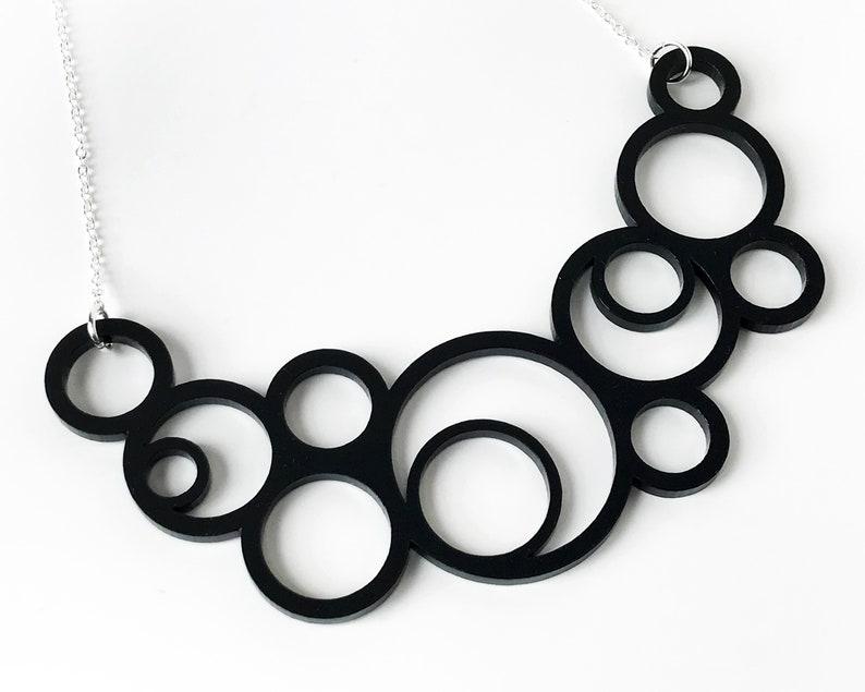 Black Statement Necklace  Bold Geometric Circles   Laser Cut image 0