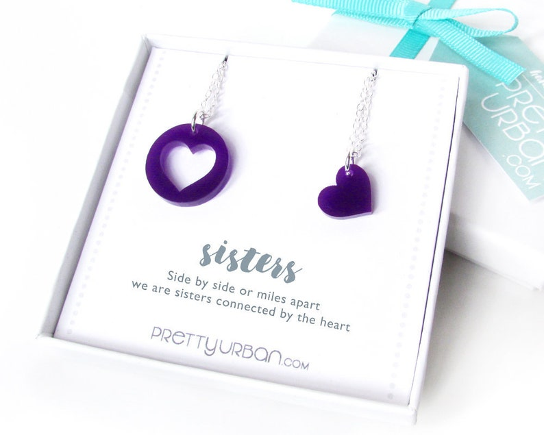 Long Distance Sister Necklace for 2  Twin Sister Birthday image 0