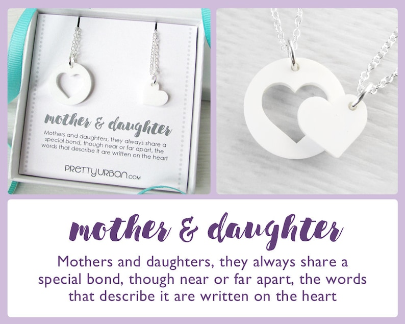 Mother Daughter Necklace Set  Heart Pendant Necklace  Heart image 0