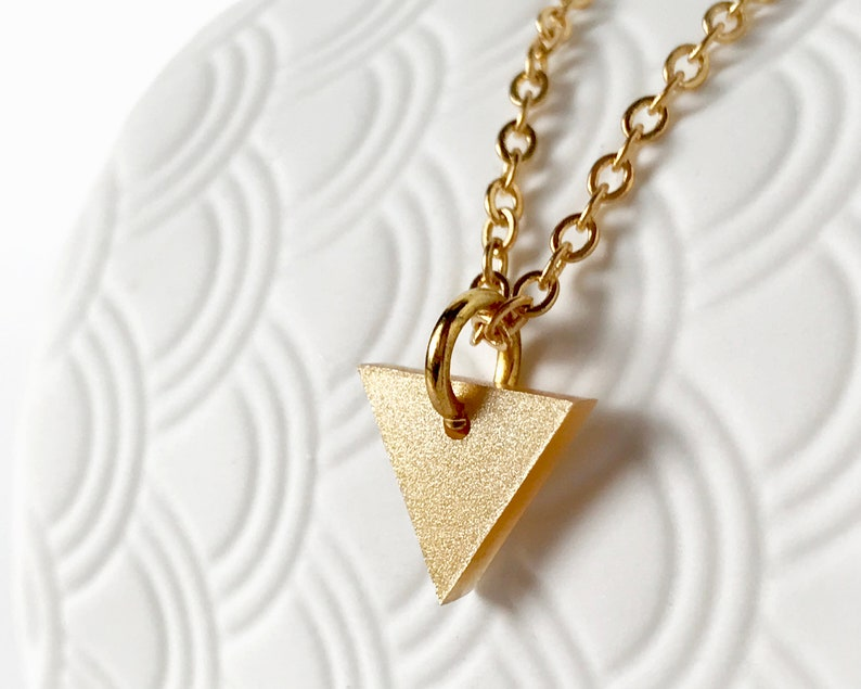 Triangle Necklace Gold  Simple Geometric Pendant Necklace  image 0