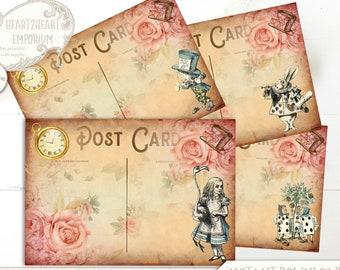 Alice in Wonderland Mini Postcards, Wonderland Collage Sheet, Party Printable, Scrapbooking, Papercraft, Instant Download, Cardmaking