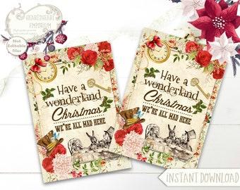 Alice in Wonderland Christmas, Wonderland Collage Sheet, ATC Cards, Scrapbooking, Papercraft, Instant Download, Digital, Cardmaking
