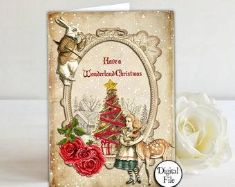 Alice in Wonderland Christmas Card, Printable Card, Christmas Card, Wonderland Scene, Alice Christmas, Wonderland Christmas, White Rabbit