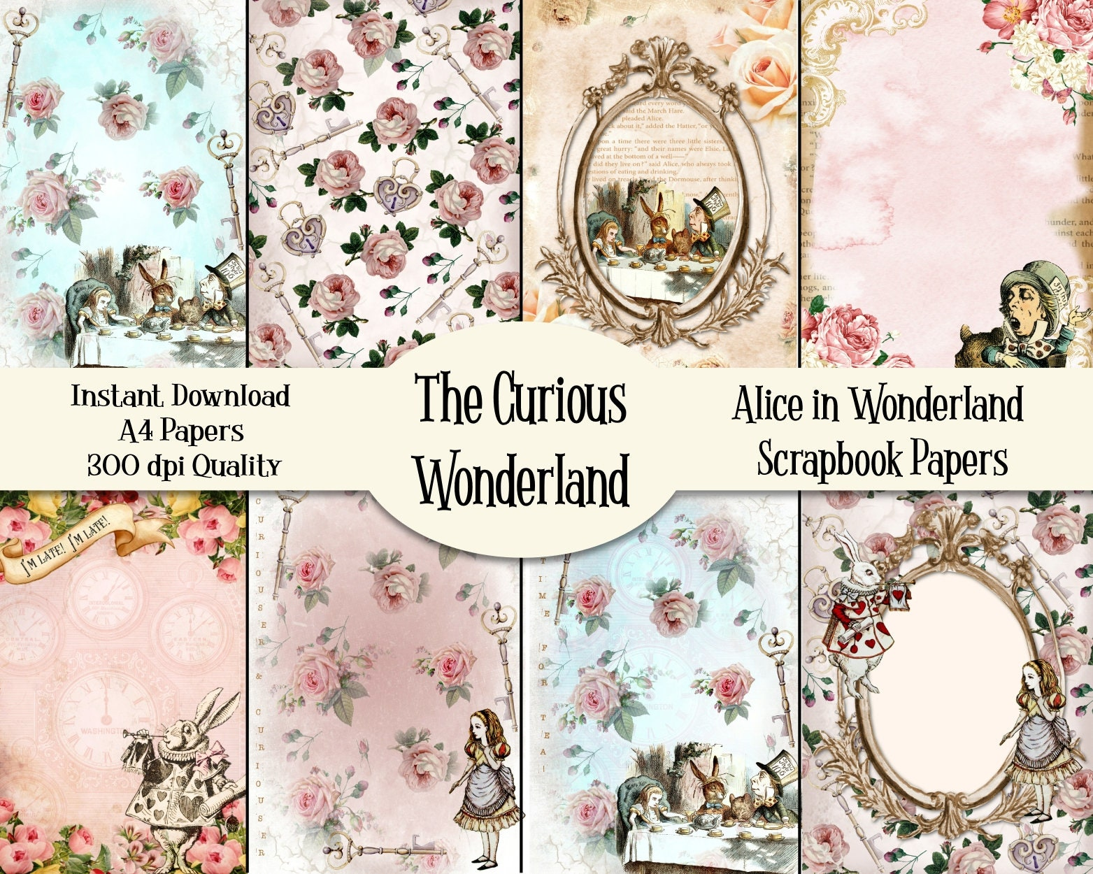Alice In Wonderland Paper Pack Scrapbooking Card Making Digital Papers Printable Instant Download Letter A4 Size Collage Sheet Craft