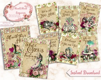 Alice in Wonderland Quotes, Wonderland Collage Sheet, Party Printable, Scrapbooking, Papercraft, Instant Download, Digital, Cardmaking