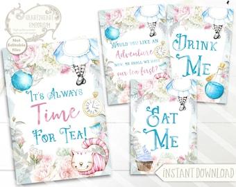 Alice in Wonderland Tea Quotes, Wonderland Collage Sheet, Party Printable, Scrapbooking, Papercraft, Instant Download, Digital, Cardmaking