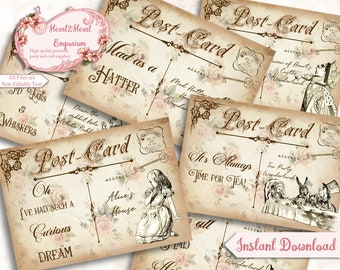Alice in Wonderland Quotes, Wonderland Collage Sheet, Party Printable, Postcard Card, Scrapbooking, Papercraft, Instant Download, Cardmaking