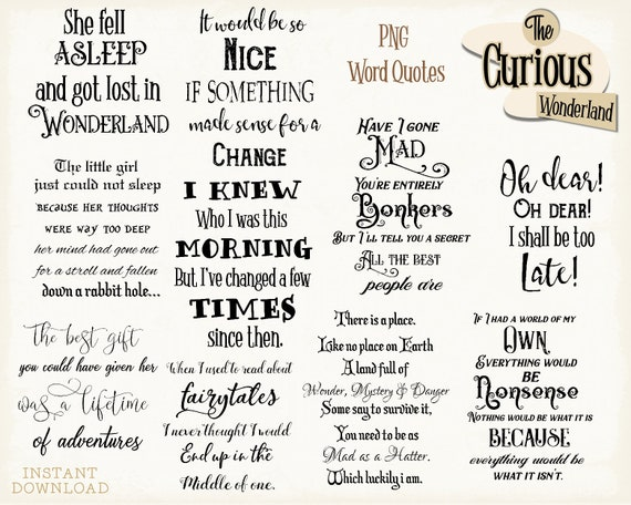 Alice In Wonderland Quotes Png Word Overlays Word Clipart Etsy