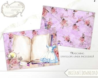 Alice in Wonderland Envelope, Collage Sheet, Envelope Liner, Download, Printable Envelopes, Floral liner, A7, 5X7, DIY,  Stationery