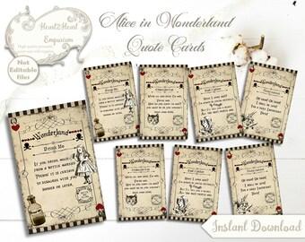 Alice in Wonderland Collage Sheet, Alice Journal Cards, Wonderland Printable, Alice Scrapbook , Wonderland Playing Cards, Alice ATC Ephemera