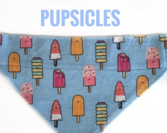 Pupsicle Dog Bandana, Popsicle Dog Bandana, Summer Dog Bandana, Fleece Dog Bandana