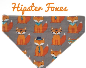 Hipster Foxes, Fox Dog Bandana, Over The Collar Dog Bandana