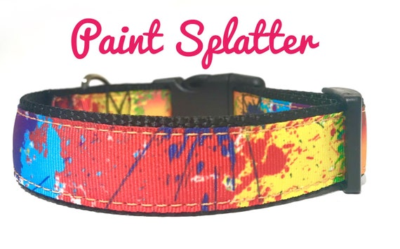 Neon Splatter Paint Over the Collar Dog Bandana Extra Small