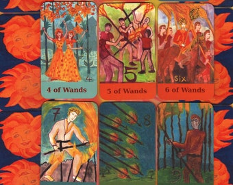 Fiery-Airy Wands Tarot: mix & match classic-size deck, in stock
