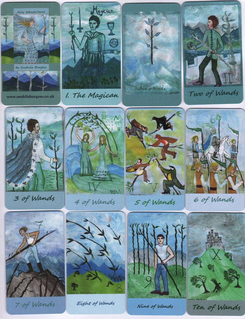 Fiery-Airy Wands Tarot: mix & match classic-size deck made to image 0