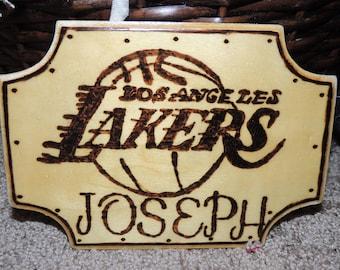 LA Lakers Wood Burning Art