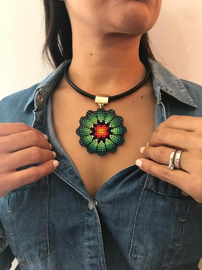 Boho necklace huichol choker huichol art huichol Huichol necklace Mexican choker colorful necklace beaded choker huichol jewelry