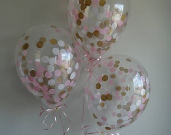 """8 or 16 Count: 11"""" Pink, Gold, & White Confetti Balloons- Shower, Birthday, Baby, 1st, Girl, Wedding, Winter, Baptism, Photo Prop, Holidays"""