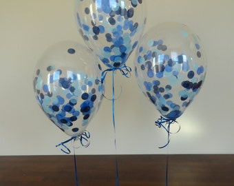 """8 or 16 Count: 11"""" Confetti Balloons with Blue Ombre Confetti- Shower, Birthday, Baby, 1st, Boy, Water, Wedding, Winter, Holidays"""