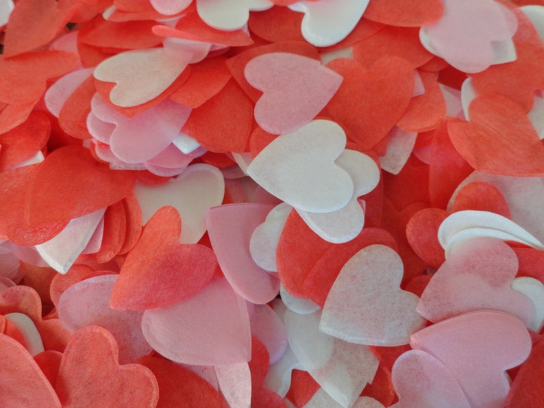 1 Red White & Light Pink Heart Confetti: image 0