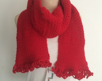 Crocheted Red Patchwork Scarf - FREE U.S. SHIPPING