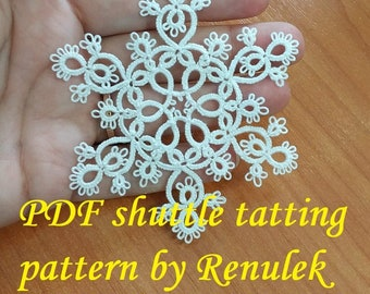 Tatting yourself gift snowflake VERONICA PDF Original Shuttle Tatting Pattern by Renulek Instant Digital Download schemat frywolitki