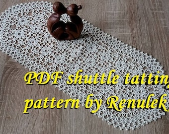 napkin ARABESQUE. PDF Original Shuttle Tatting Pattern by Renulek Instant Digital Download. Tatting yourself gift. lace napkin.