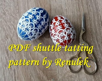 "Egg 3D no.4"" PDF Original Shuttle Tatting Pattern by Renulek. Instant Digital Download. Tatting yourself gift. schemat frywolitki. Easter"