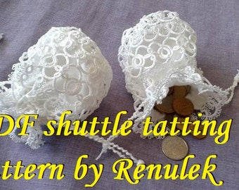 "Mini Pocket, bag"" PDF Original Shuttle Tatting Pattern by Renulek. Instant Digital Download. Tatting yourself gift. schemat frywolitki"