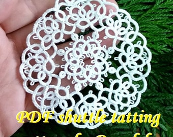 Xmas Bubble4. PDF Original Shuttle Tatting Pattern. Instant Digital Download. Tatting yourself xmas gift. schemat frywolitki czółenkowej.