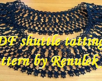"Black Collar2"" PDF Original Shuttle Tatting Pattern napkin by Renulek Instant Digital Download. Tatting yourself gift. schemat frywolitki"