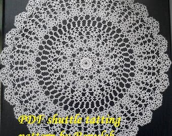 napkin WIOSNA2014. PDF Original Shuttle Tatting Pattern napkin by Renulek Instant Digital Download. Tatting yourself gift.