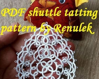 "Easter egg3"" PDF Original Shuttle Tatting Pattern  by Renulek Instant Digital Download. Tatting yourself gift. schemat frywolitki"