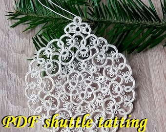 Xmas Bubble2. PDF Original Shuttle Tatting Pattern. Instant Digital Download. Tatting yourself xmas gift. schemat frywolitki czółenkowej.