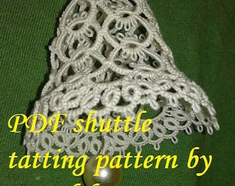 BELL 3D' PDF Original Shuttle Tatting Pattern. Dzwoneczek. Instant Digital Download. Tatting yourself. xmas gift. schemat frywolitki.