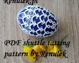 "Egg 3D no.1"" PDF Original Shuttle Tatting Pattern by Renulek. Instant Digital Download. Tatting yourself gift. schemat frywolitki"