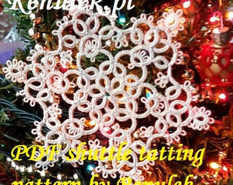 snowflake ROSIE. PDF Original Shuttle Tatting Pattern. Instant Digital Download. Tatting yourself xmas gift. schemat frywolitki