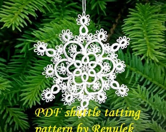 "Snowflake ""NINA'PDF Original Shuttle Tatting Pattern. Instant Digital Download. Tatting yourself. xmas gift. schemat frywolitki"
