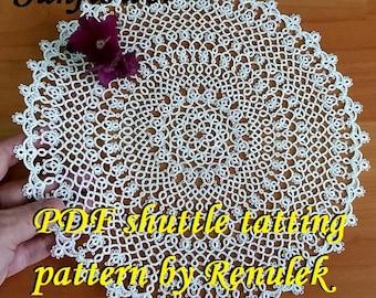 doily SUNFLOWER. PDF Original Shuttle Tatting Pattern by Renulek Instant Digital Download. Tatting yourself gift. lace napkin.