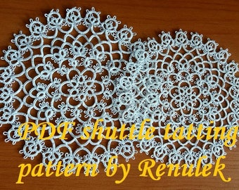 "napkin""RASPBERRY"" PDF Original Shuttle Tatting Pattern napkin by Renulek Instant Digital Download. Tatting yourself gift. schemat frywolitki"