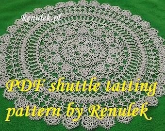 "Napkin WIOSNA2015"" PDF Original Shuttle Tatting Pattern by Renulek Instant Digital Download. Tatting yourself gift. lace napkin."