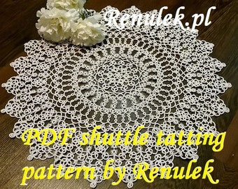 napkin WIOSNA2017. PDF Original Shuttle Tatting Pattern by Renulek Instant Digital Download. Tatting yourself gift. schemat frywolitki