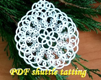 Xmas Bubble7. PDF Original Shuttle Tatting Pattern. Instant Digital Download. Tatting yourself xmas gift. schemat frywolitki czółenkowej