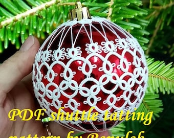 Bubble 3D–3'PDF Original Shuttle Tatting Pattern. Instant Digital Download. Tatting yourself. xmas gift. schemat frywolitki.