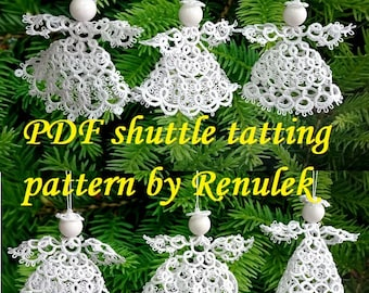 SIX Angels 3D' PDF Original Shuttle Tatting Pattern. Instant Digital Download. Tatting yourself. xmas gift. schemat frywolitki.